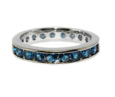 Round Cut Blue Sapphire AAA Cubic Zirconia Eternity Band Ring-Great Ring Guard