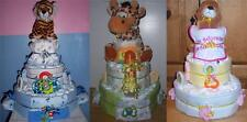Baby Shower 3 Tier Safari Diaper Cake, Elephant, Monkey, Lion, Giraffe, Zebra