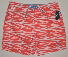 NEW MENS NAUTICA SWIM TRUNKS CORAL ORANGE TIGER STRIPE PATTERN  LARGE, XL,  XXL