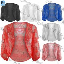 Womens Shrug Ladies Batwing Cardigan Open Celeb Lace Crop Bolero Top Plus Size