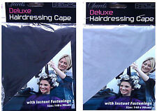 HAIRDRESSING CAPE WITH INSTANT FASTENINGS 140 X 90CM BLACK/GREY