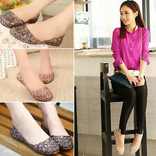 Fashion Womens Ballet Flats Loafers Boat Shoes Casual Soft Glitter Jelly Pumps