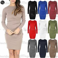 Womens Stretch Side Ruched Long Sleeve Draped Fitted Ladies Bodycon Mini Dress