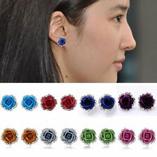 13 Colors Rose Flower Crystal Rhinestone Pierced Ear Stud Earrings Women Gifts