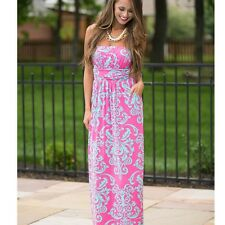 Sexy Women Casual Summer Strapless Empire Waist Print Long Maxi Party Dress