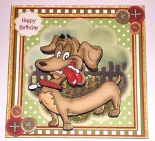Handmade Greeting Card 3D All Occasion With A Dachshund Dog