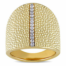 Miadora 18k Yellow Gold Plated Sterling Silver White Sapphire Textured Ring