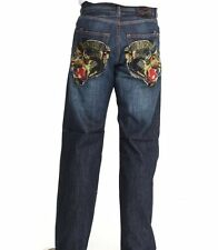 ED HARDY CHRISTIAN AUDIGIER MENS EMBROIDERED PANTHER DENIM JEANS INDIGO NWT $249