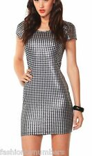 BNWT SASS Black Gold HOUNDSTOOTH BODYCON COCKTAIL Dress size 8 - LAST ONE!