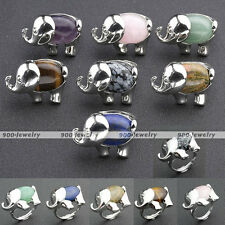 Fashion Silver Plated Elephant Gemstone Band Finger Rings Adjustable US-7 Gift