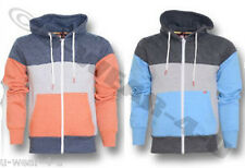 MENS FASHIONABLE CINCH TRI COLOUR HOODED SWEATSHIRT ZIP UP HOODIE PANEL JACKET