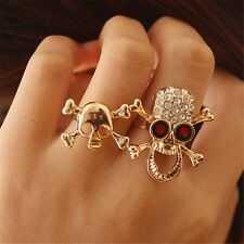 Retro Typical Gothic/Punk Gold/Silver Crystal Skull Two Finger Double Ring New
