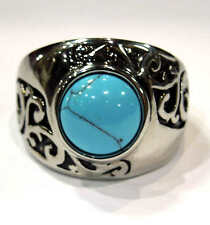 Woman's stainless steel blue turquoise ring  USA size  7, 8, 9, 10, 11