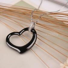 Jewelry Wedding Heart Ceramic CZ 925 Sterling Silver Necklace Pendant Chain F6Z1