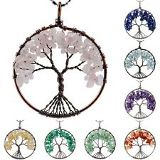 Vintage Copper Tree of Life Crystal Quartz Gemstone Pendant Fit Necklace Jewelry