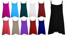 Womens Sleeveless Cami Swing Dress Floaty Flared Strappy Skater Long Top 'CmiLng