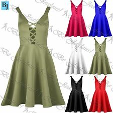 Ladies Party Mini Dress Lace Up Womens Scuba Low Back Flared Swing Skater Dress
