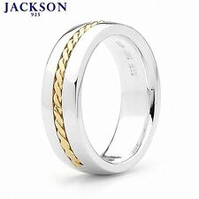 Jackson 925 Silver Gent's Wedding Rings 9ct Gold Braid Size 9.25-11.25