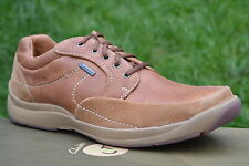 Clarks BNIB Mens Active Air Casual Shoes Stream Jet GTX Tan Leather RRP £90