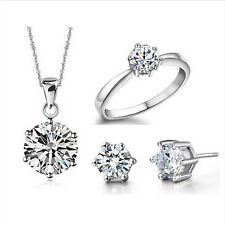 Real Pure Silver 6 Claw Cubic Zircon Pendant Necklace Earring Ring Jewelry Set