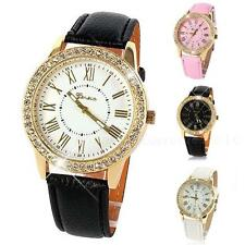 Womens Bling Crystal Faux Leather Strap Golden Analog Quartz Wrist Watch PHNG
