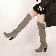 Fashion New Women Sexy Over The Knee Thigh High Heels Suede Club Long Boot Shoes