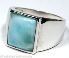 10x11mm AAA Genuine Dominican Larimar Solid 925 Sterling Silver Ring Sz 7