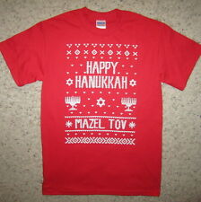happy hanukkah ugly sweater christmas party mazel tov contest funny xmas t shirt