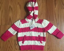 Ralph Lauren Polo Toddler Baby Girls Pink White Hooded Knit Sweater 9m 18m NWT