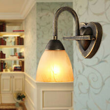 Retro Golden Teak Glass Indoor Wall Lights Antique Brass Finished Hallway Sconce