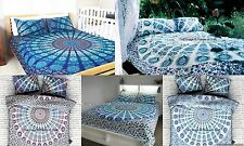 Indian Pure Cotton Mandala Twin Comforter Quilt Duvet Cover Blanket With Pillow