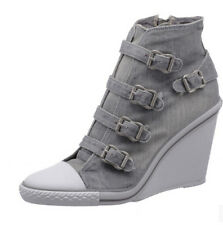 2016 Fashion High Top Denim Canvas Womens Buckle Strap Wedge Heel Sneakers Boots