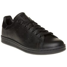 New Mens adidas Black Stan Smith Leather Trainers Court Lace Up