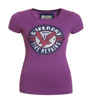 New Womens Superdry Factory Second Eagle Grip T-Shirt New Grape