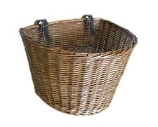 RETRO WICKER BICYCLE BASKET WITH LEATHER STRAPS BIKE / CYCLE SHOPPING