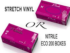 PINK GLOVES either Stretch VINYL or NITRILE Disposable Non Latax & Powder Free