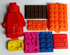 brick + minifigure silicone jelly chocolate ice cube cake pan mold tray for Lego
