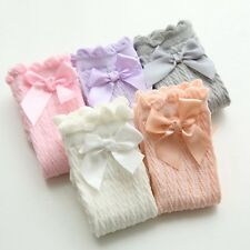 2 Pairs Baby Cotton Socks Girls Lace Non-slip Knee High Socks Frilly Ribbons Bow