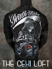 NEW MENS GRAPHIC T-SHIRT Black Death Rider Reaper with Silver Foil SLIM FIT