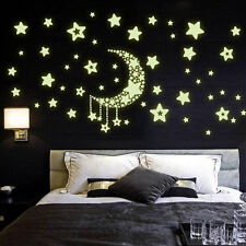 New Night Light Luminous Stickers Home Decor Rooms Wall Decals Moon And Stars