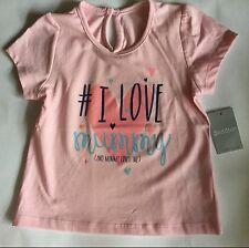 Baby Girls Pink Short Sleeve T Shirt with I Love Mummy