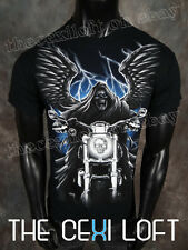 NEW MENS HELIX Brand GRAPHIC T-SHIRT Black with Mororcycle Reaper Skull SLIM FIT