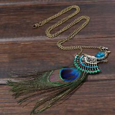 Vintage Peacock Feather Sweater Chain  Women Jewelry  Fashion  Necklace