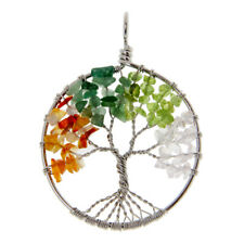 Handmade Tree of Life Pendant Gemstone Chips Bead Copper Wire Wrapped Jewelry