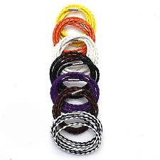 Men's Hand Knitting Faux Leather Chain Punk Bangle Bracelet Fashionable