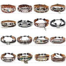 Punk Mens Multilayer Genuine Leather Bangle Cuff Wrap Charms Bracelet Wristband