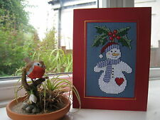 Completed Cross Stitch Christmas Card - Snowman, Holly on blue Aida 6