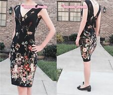 RARE! ALL SIZE NWT ZARA BLACK GARDEN SUMMER FLORAL PRINTED SHIFT TUBE DRESS