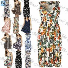 Womens Coil Midi Dress Ladies V Neck Floral Spring Ruched Flared Short Plus Size