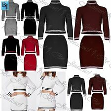 Womens Ladies 2 Piece Knit Ribbed Polo Turtle Roll Neck Crop Top Mini Skirts Set